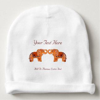 Henna Elephant (Orange/Red) Baby Beanie