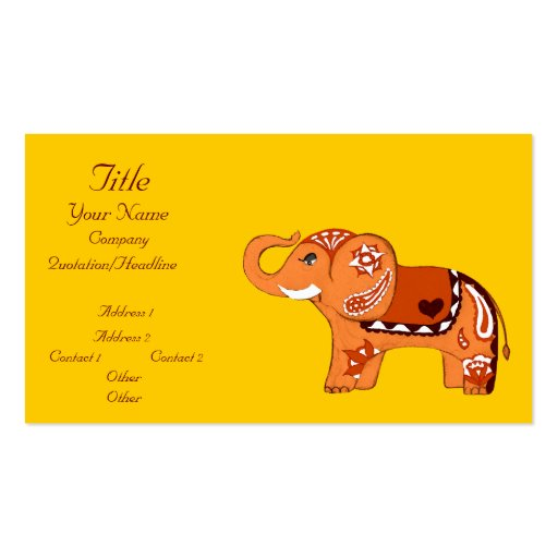 Henna Elephant (Orange/Red) (Baby Shower) Business Card Templates