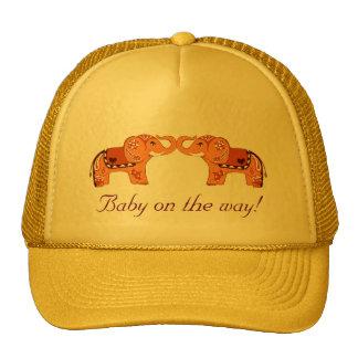 Henna Elephant (Orange/Red) (Baby Shower) Cap