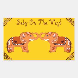 Henna Elephant (Orange/Red) (Baby Shower) Rectangular Sticker