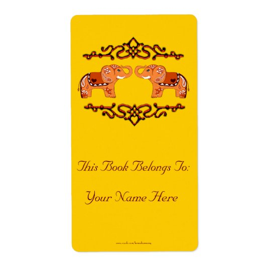 Henna Elephant (Orange/Red) Bookplate