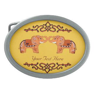 Henna Elephant (Orange/Red) Oval Belt Buckle