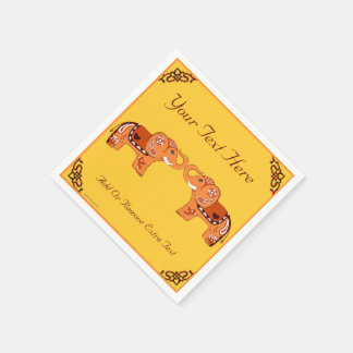 Henna Elephant (Orange/Red) Paper Napkin