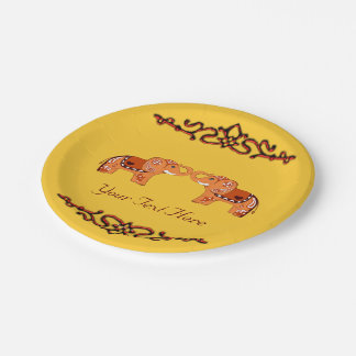 Henna Elephant (Orange/Red) Paper Plate