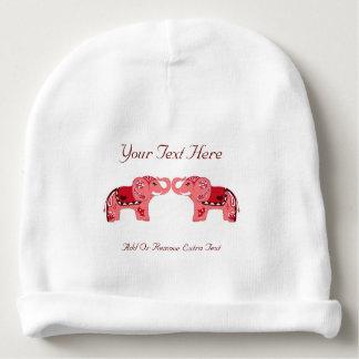 Henna Elephant (Red/Pink) Baby Beanie
