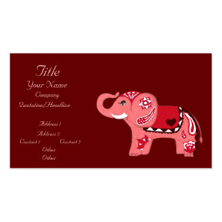 Henna Elephant (Red/Pink) (Baby Shower) Business Card