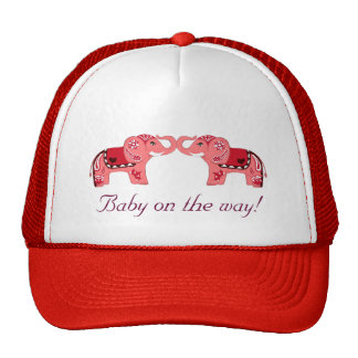 Henna Elephant (Red/Pink) (Baby Shower) Cap