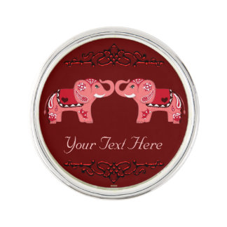 Henna Elephant (Red/Pink) Lapel Pin