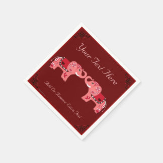 Henna Elephant (Red/Pink) Paper Napkin