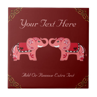 Henna Elephant (Red/Pink) Small Square Tile