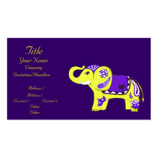 Henna Elephant (Yellow/Purple) (Baby Shower) Business Card Templates