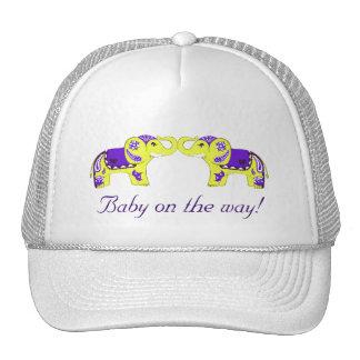 Henna Elephant (Yellow/Purple) (Baby Shower) Cap