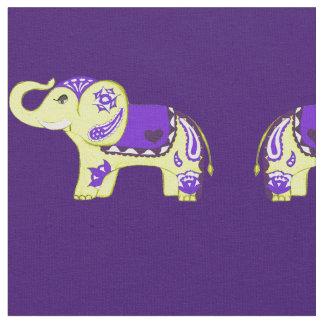 Henna Elephant (Yellow/Purple) Fabric