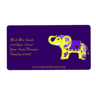 Henna Elephant (Yellow/Purple) Shipping Label