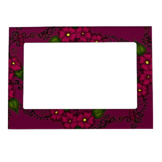 Henna Flower (Fuschia) Magnetic Picture Frame