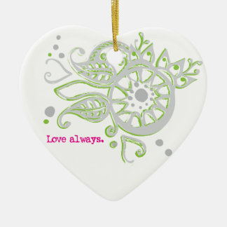 Henna Flower Love Always Drawing Ceramic Ornament
