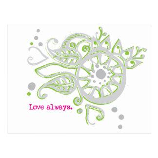 Henna Flower Love Always Drawing Postcard