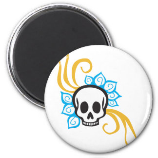 Henna Flower Pirate Skull Magnet