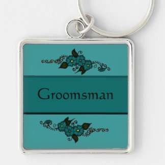 Henna Flower (Teal) Silver-Colored Square Key Ring