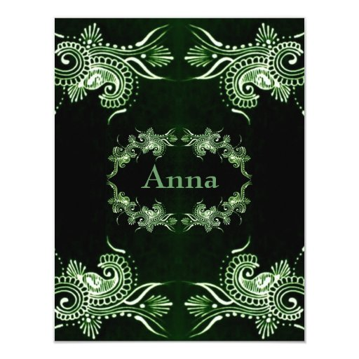 Henna Mehndi Green St : Henna green mehndi bollywood paper invitation