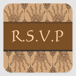Henna Hand (Brown) (Wedding) Square Stickers