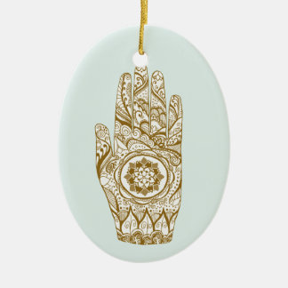 Henna Hand Lotus Ceramic Ornament