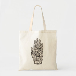 Henna Hand Lotus Tote Bag