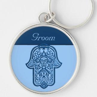 Henna Hand of Hamsa (Blue) (Wedding) Silver-Colored Round Key Ring