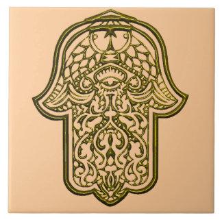 Henna Hand of Hamsa (Golden) Tile