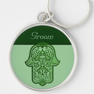Henna Hand of Hamsa (Green) (Wedding) Silver-Colored Round Key Ring