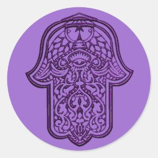 Henna Hand of Hamsa (Purple) Classic Round Sticker
