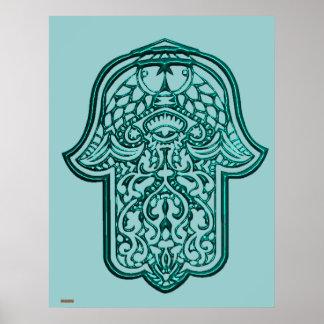 Henna Hand of Hamsa (Teal) Poster