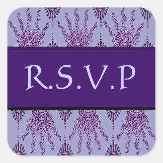 Henna Hand (Purple) (Wedding) Square Sticker