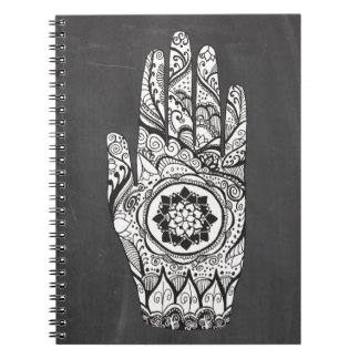 Henna Hand Tattoo With Lotus Flower Notebook
