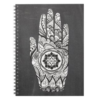 Henna Hand Tattoo With Lotus Flower Notebooks