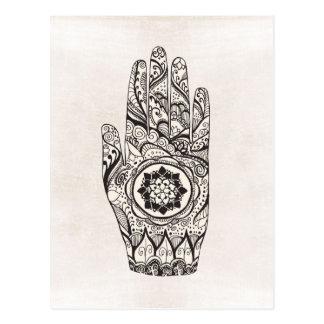 Henna Hand Tattoo With Lotus Flower Postcard