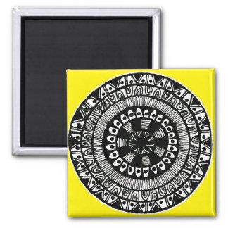 Henna inspired circle design yellow fridge magnet