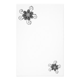 Henna Inspired Spiral Flowers (Black & White) Personalized Stationery