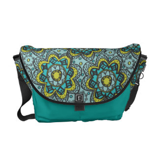 Henna Like Flower Teal and Lime Commuter Bag