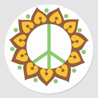 Henna Lotus Flower Peace Sign Round Stickers