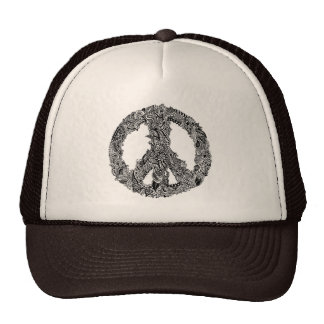 Henna Peace Sign Mesh Hats