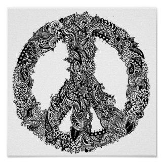 Henna Peace Sign Poster