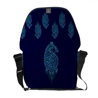 Henna Peacock (Blue) Messenger Bag