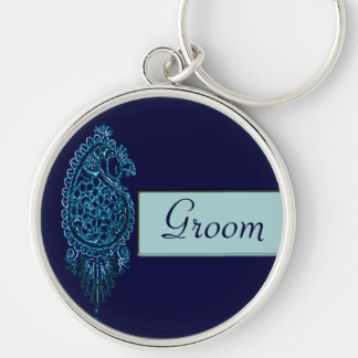 Henna Peacock (Blue) (Wedding) Silver-Colored Round Key Ring