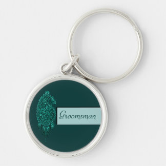 Henna Peacock (Turquoise) (Wedding) Silver-Colored Round Key Ring