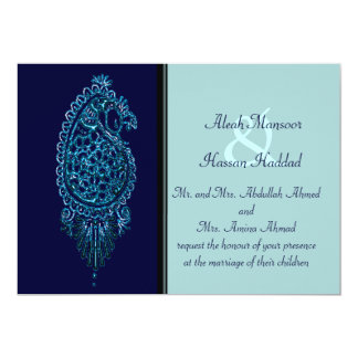 Henna Peacock (Wedding) (Blue) Card