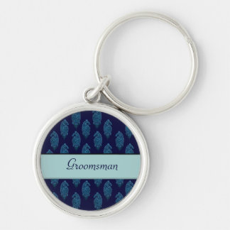 Henna Peacock (Wedding) (Blue) Silver-Colored Round Key Ring