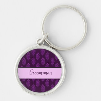 Henna Peacock (Wedding) (Violet) Silver-Colored Round Key Ring