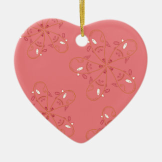 Henna Pink Gold ethno look Ceramic Ornament