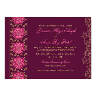 Henna Raisin Pink Gold Indian Wedding Invitation